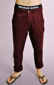 Wine Cotton Slim Fit Turn Up Chinos